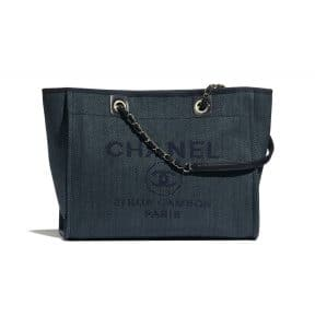 Chanel Navy Blue Mixed Fibers Deauville Large Shopping Bag
