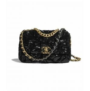 Chanel Black Sequins Chanel 19 Flap Bag