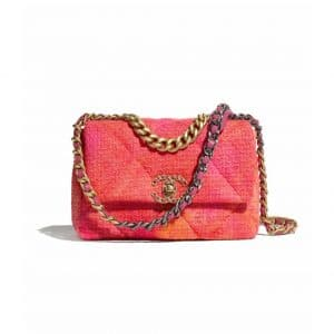 Chanel Coral/Pink/Orange Wool Tweed Chanel 19 Flap Bag