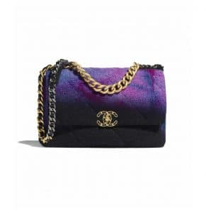 Chanel Purple/Black/Blue Wool Tweed Chanel 19 Large Flap Bag