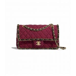Chanel Red/Black Wool Tweed Classic Flap Bag