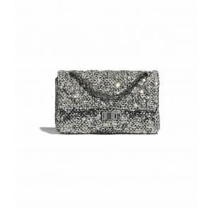 Chanel Silver/Black/Gold Tweed and Sequins 2.55 Reissue Bag