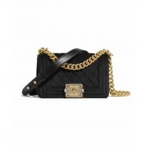 Chanel Black Velvet Boy Chanel Small Bag
