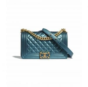 Chanel Blue Metallic Calfskin Boy Chanel Bag
