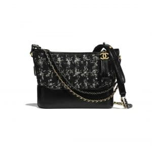 Chanel Black/Silver/Ecru Tweed Gabrielle Hobo Bag