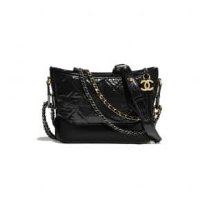 Chanel Black Aged Calfskin Gabrielle Small Hobo Bag