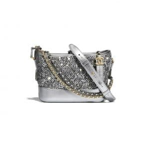 Chanel Silver Tweed and Sequins Gabrielle Chanel Small Hobo Bag