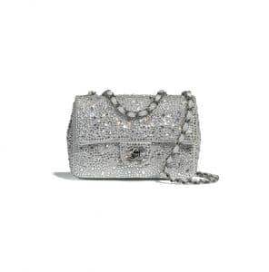 Chanel Silver Strass and Lambskin Flap Bag
