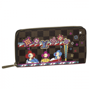 Louis Vuitton Damier Ebene/Bumper Cars Christmas Animation Zippy Wallet