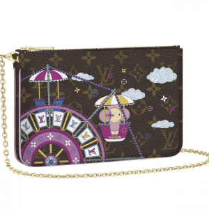 Louis Vuitton Monogram Canvas/Ferris Wheel Christmas Animation Double Zip Bag