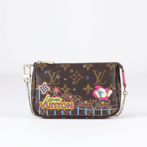 Louis Vuitton Monogram Canvas/Roller Coaster Christmas Animation Double Zip Bag