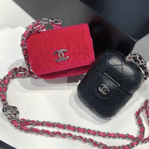 Chanel Pink Camellia and Black Leather AirPod Holders