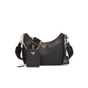 Prada Black Saffiano Leather Re-Edition 2005 Shoulder Bag