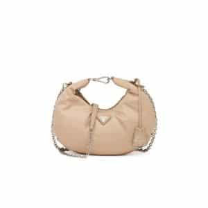Prada Cameo Beige Nylon Re-Edition 2006 Hobo Bag