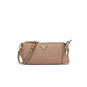 Prada Cameo Beige Saffiano Leather Re-Edition 2000 Mini Shoulder Bag