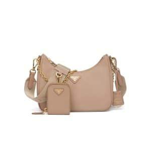 Prada Cameo Beige Saffiano Leather Re-Edition 2005 Shoulder Bag