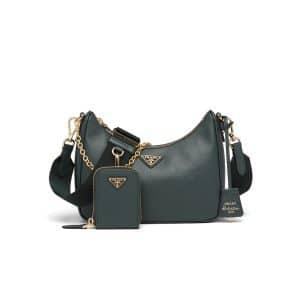 Prada Emerald Green Saffiano Leather Re-Edition 2005 Shoulder Bag