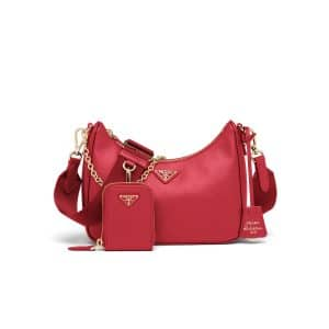 Prada Fiery Red Saffiano Leather Re-Edition 2005 Shoulder Bag