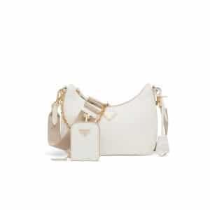 Prada White Saffiano Leather Re-Edition 2005 Shoulder Bag