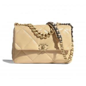Chanel Beige Shiny Goatskin Chanel 19 Large Flap Bag