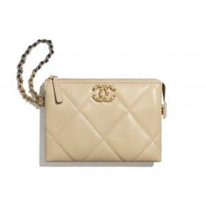 Chanel Beige Shiny Goatskin Chanel 19 Small Pouch with Handle