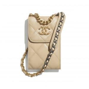 Chanel Beige Shiny Goatskin Mini Clutch with Chain
