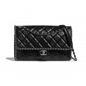 Chanel Black Aged Calfskin Large Flap Bag