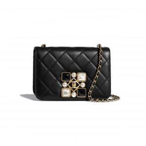 Chanel Black Calfskin and Crystal Pearls Flap Bag