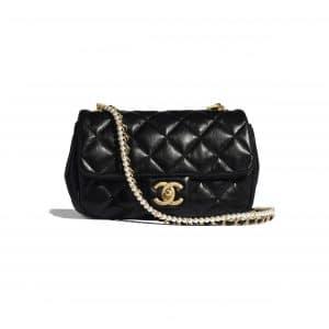 Chanel Black Calfskin and Crystal Pearls Mini Flap Bag