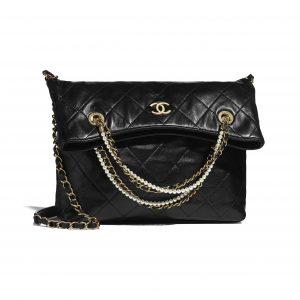 Chanel Black Calfskin and Crystal Pearls Shopping Bag