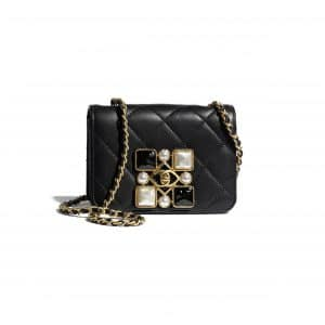 Chanel Black Calfskin and Crystal Pearls Small Flap Bag