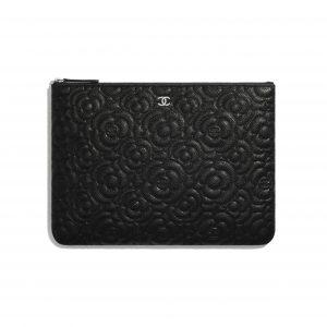 Chanel Black Camellia Pouch