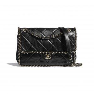 Chanel Black Crumpled Calfskin Flap Bag