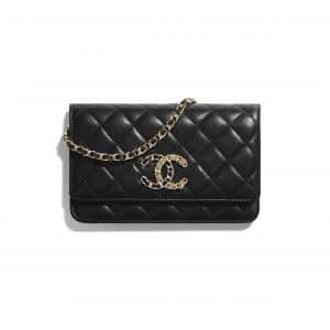 Chanel Black Lambskin Chanel 19 Wallet on Chain