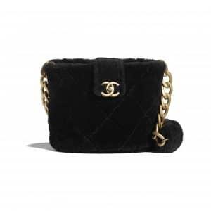 Chanel Black Shearling Lambskin Bucket Bag