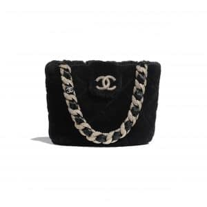 Chanel Black Shearling Lambskin and Strass Bucket Bag