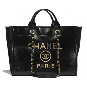 Chanel Black Shiny Calfskin and Crystal Pearls Deauville Large Shopping Bag