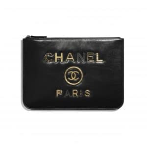 Chanel Black Shiny Calfskin:Crystal Pearls:Strass Deauville Pouch
