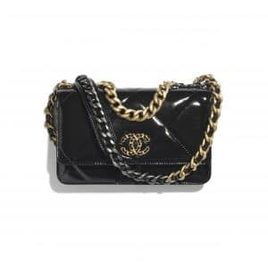 Chanel Black Shiny Crumpled Calfskin Chanel 19 Wallet on Chain