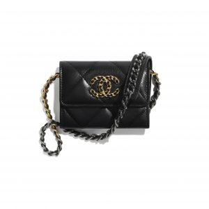Chanel Black Shiny Goatskin Chanel 19 Flap Coin Purse with Chain