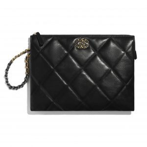 Chanel Black Shiny Goatskin Chanel 19 Pouch with Handle