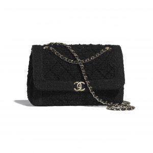 Chanel Black Tweed Flap Bag
