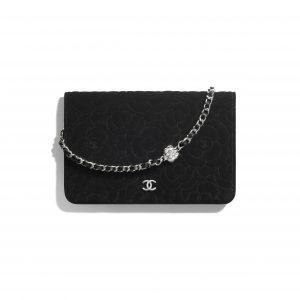 Chanel Black Velvet Camellia Wallet on Chain