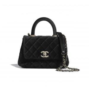 Chanel Black Velvet and Strass Mini Coco Handle Bag