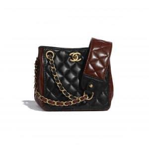 Chanel Black:Brown Strap Into Bucket Bag
