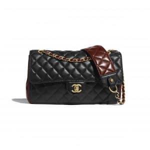 Chanel Black:Brown Strap Into Flap Bag