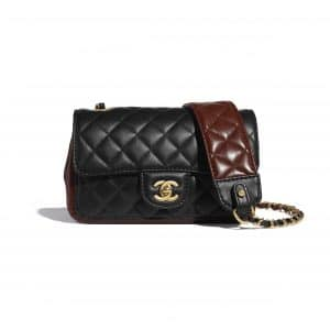 Chanel Black:Brown Strap Into Small Flap Bag