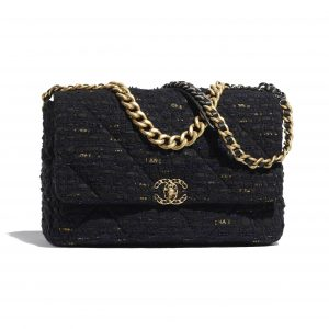 Chanel Black:Navy Blue:Gold Tweed Chanel 19 Maxi Flap Bag