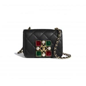 Chanel Black:Red:Green Calfskin and Crystal Pearls Small Flap Bag