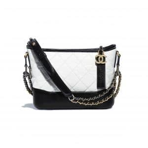 Chanel Black:White Aged Calfskin Gabrielle Small Hobo Bag